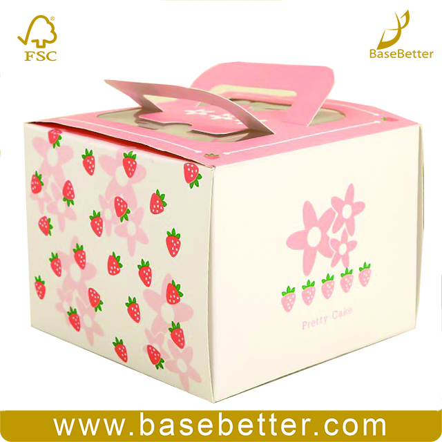 Customized Pink Ivory Paper Cake Packaging Box For Food With Window