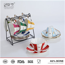Elegent bone china custom printed tea coffee set espresso cups with eco friendly
