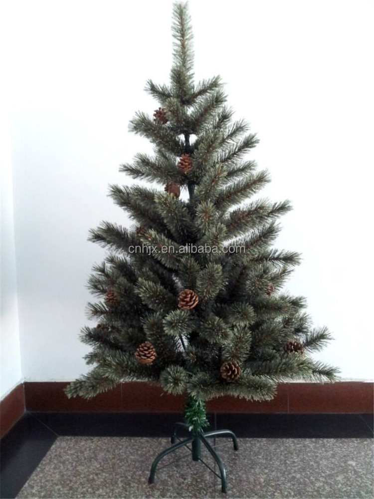 Yiwu 4ft, 5ft, 6ft Fake Pine Cone PVC Pine Needle Artifical Christmas Tree Metal