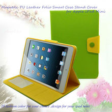 Colorful Magnetic PU Leather Folio Smart Case Cover for Apple iPad Mini Stand/holder