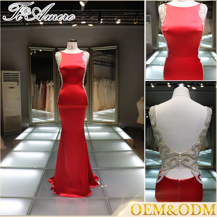latest design formal evening gown women formal evening gowns Chinese red formal evening gowns