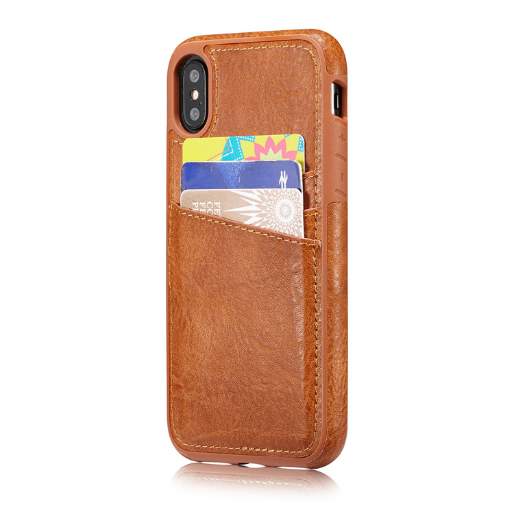 3 Card Holder Slots PU Leather Wallet Case for iPhone X 10