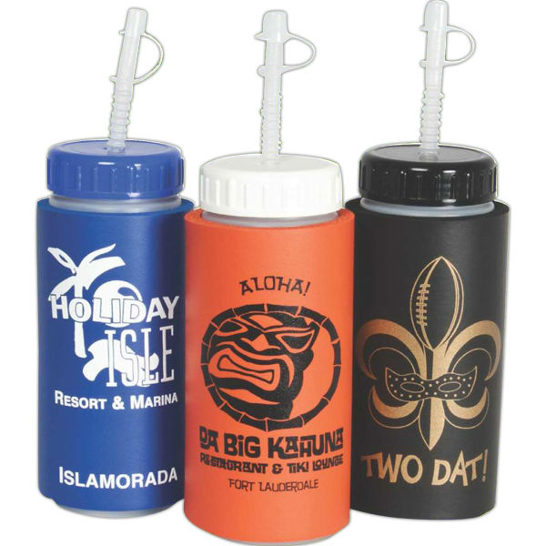 USA Made 16 oz Insulated Sports Bottle With Straw - BPA-free, biodegradable and comes with your logo