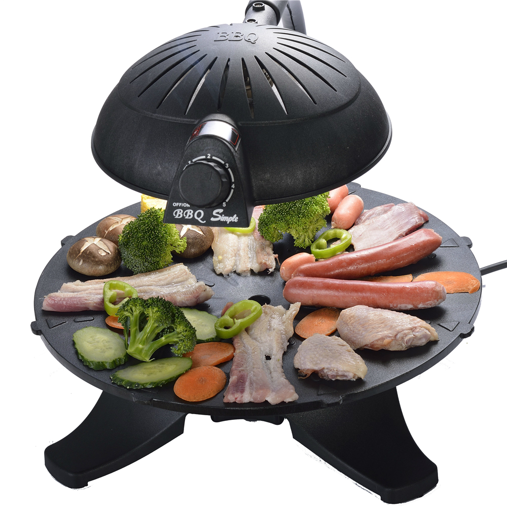 3D electric infrared smoke free bbq grill