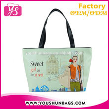 2016 Unique Handbags Tote Bags with Digital Printed Sweet Girl Design for Ladys