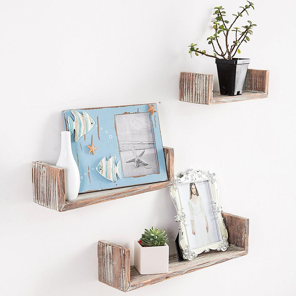 Dark Brown Wall Mounted Torched Wood <strong>U</strong>-Shaped Floating Shelves, Set of 3