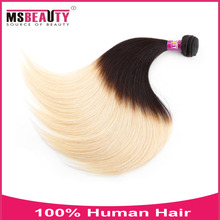 MSbeauty wholesale blonde brazilian silky straight hair two tone color 1B/27 high light piece hair