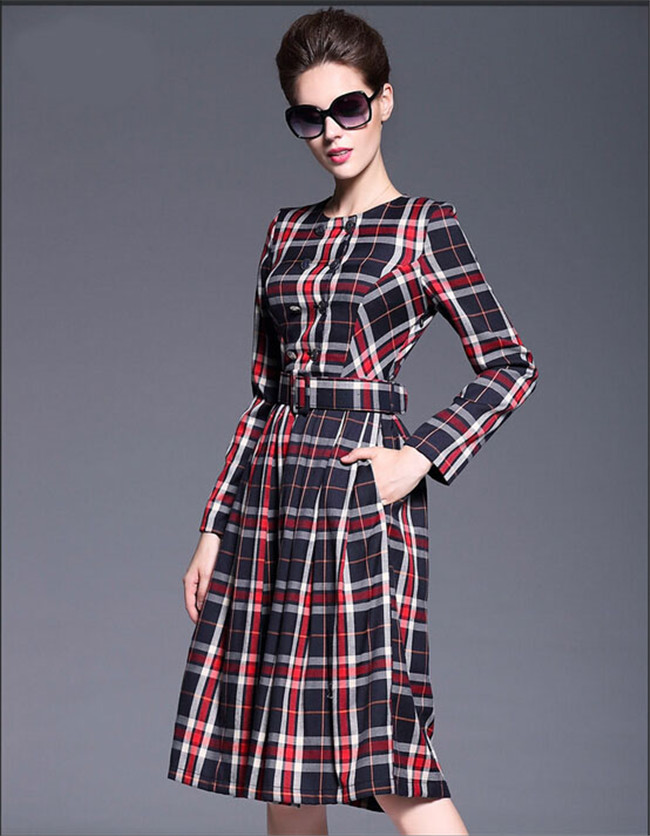 Vintage british style women plaid <strong>dress</strong> long sleeve button line <strong>dress</strong> knee length autumn <strong>dresses</strong> Z019