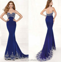 2 colors beaded luxrious mermaid sleeveless dresses for wedding party