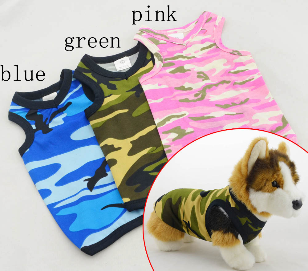 Pet Clothes Wholesale large size Dog Clothing Sweet-heart neck Camo tank 2016 Summer