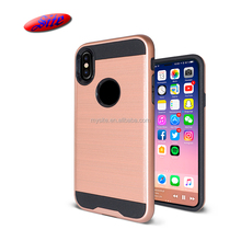 Brush Metal HairlinePC+TPU Hybrid Combo Shockproof Protective Shell Back Cover Cell Phone Case for iPhone x