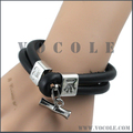 Bamboo Stick Pendant Double-Stand Black Genuine Leather Bracelet