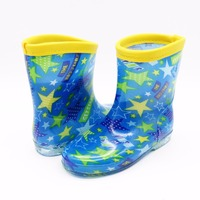 Pvc water proof boots cheap rain boots for kids shoes with stars printed