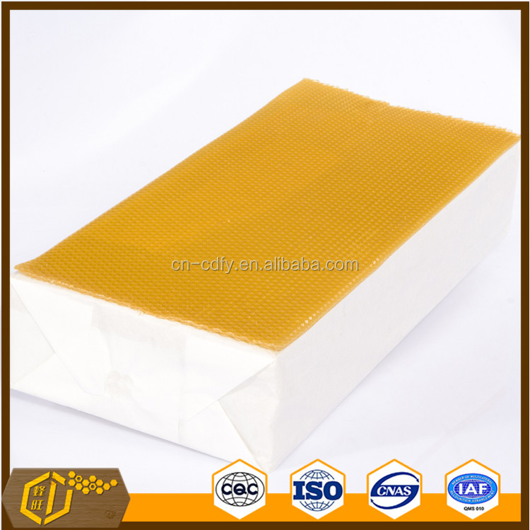 Beekeeping tool Yellow plastic Organic Beeswax Foundation for beehive frame sheet