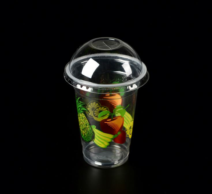 round plastic container with lid / salad container / slush ice yard slush ice cup Green paper cup