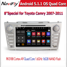 8 inch Quad Core 2 din Android 5.1.1 CAR DVD Player GPS Navigation FOR Toyota Camry 2008 2009 2010 2011 steering-wheel WIFI