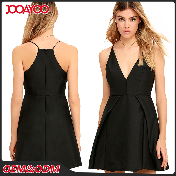 Customized Latest Design Casual Party Sleeveless Sexy Dresses V-neck Midi Black Skater Dress