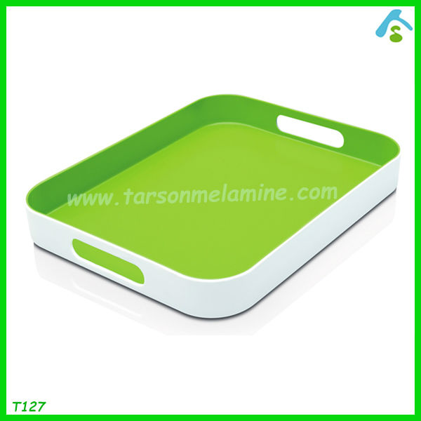 durable double color 17 inch melamine serving tray with handle