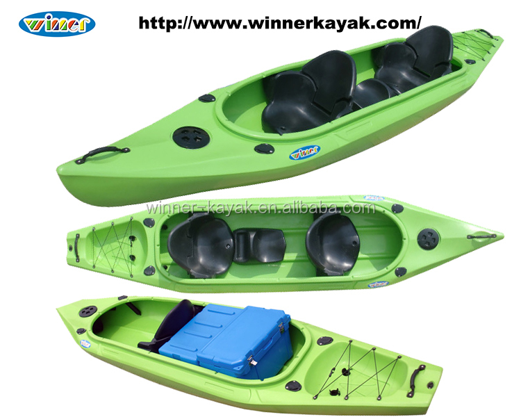 Double(2+1) seats sit in recreational fishing boats family kayak