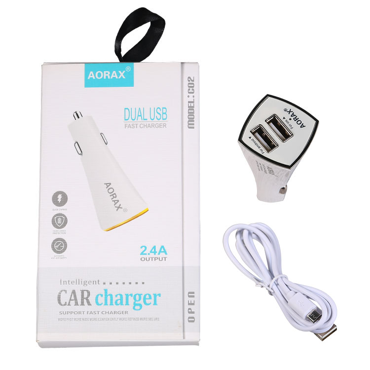 2019 AORAX New design Hot Sale 12/24V 2.1A 2 Ports Usb <strong>LED</strong> Car Charger Adapter Factory price