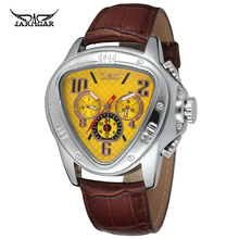 Jaragar Sport Racing Design Geometric Triangle Design Genuine Leather Strap Mens Watches Top Brand Luxury Automatic Wrist Watch