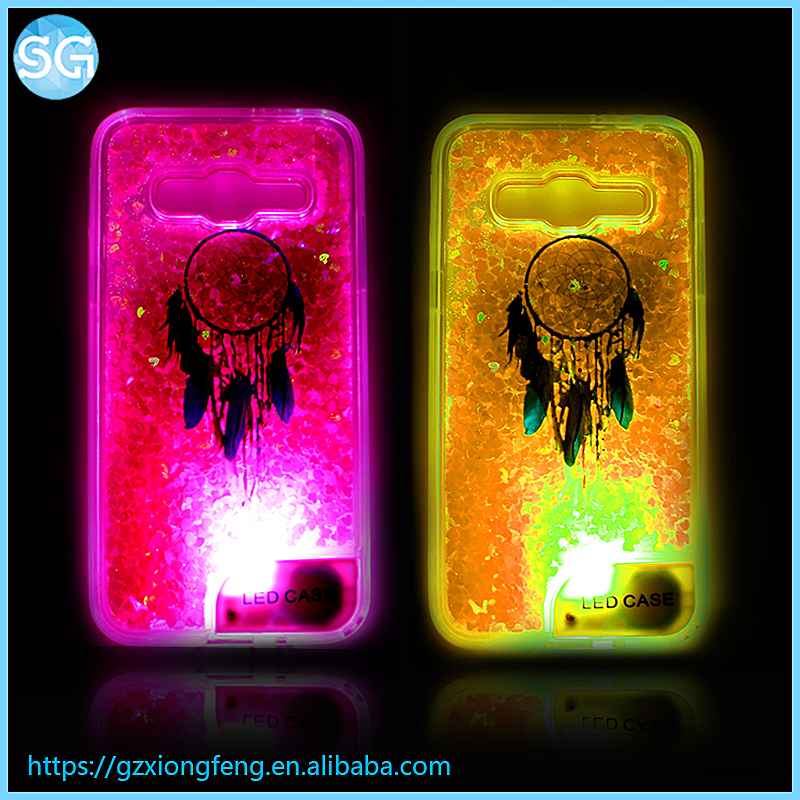 LED Light Design Dynamic Glitter Quicksand Mobile Phone Case for Iphone 7 for Samsung