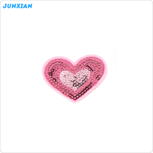High quality fashion oem design heart shape applique sequin embroidery