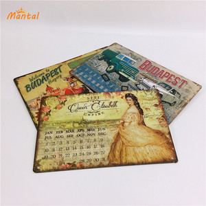 Vintage Magnetic Metal Sign Tin Calendar for Wall Decoration