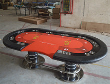 2017 high quality Casino Texas Holdem Poker Table wholesale with Cheapest price with Red Casino Poker Table