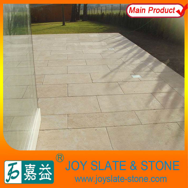 natural bush hammered yellow limestone floor tile