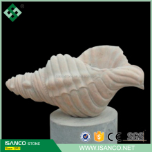 Cloudy Rose Red Marble Sculpture Conch,Whelk,Sea sanil,Trumpet shell Carving for sale