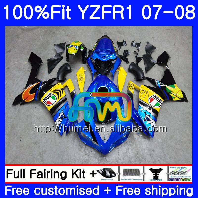 Injection Bodys For YAMAHA YZF 1000 R 1 Graffiti Blue YZF <strong>R1</strong> 07 08 90HM4 YZF1000 YZFR1 07 08 YZF-1000 YZF-<strong>R1</strong> <strong>2007</strong> 2008 Fairing