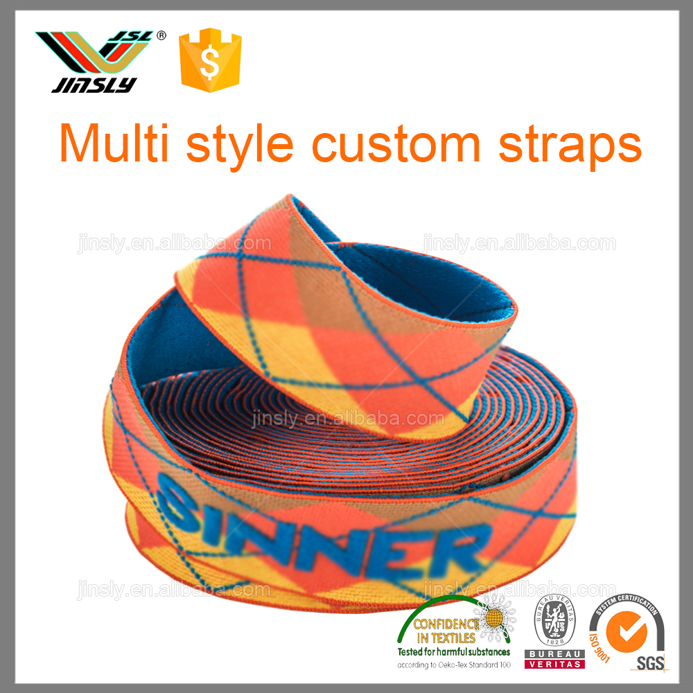 custom strong adjustable ski snowboard jacquard elastic goggle strap