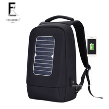 2018 back pack Universal outdoor soft waterproof laptop backpack carry solar panel bag with usb charging
