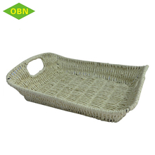 China wholesale cheap price bread tray square flat pure handmade paper woven fruit basket