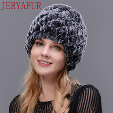 Hot 2017 New 100% Genuine Knitted Rex Rabbit Fur Hat Winter Lady Floral Cap Female Headgear Women Fur Beanies hats free shipping