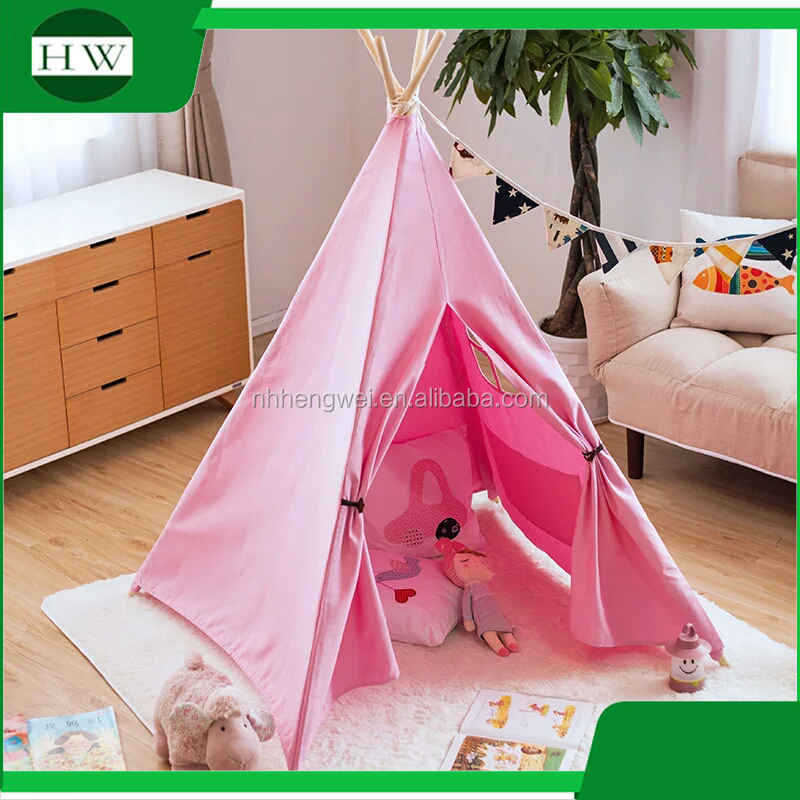 Wholesale childrens kids play teepee indian <strong>tent</strong> indoor kids tipi <strong>tent</strong> cotton canvas tee pee custom tepee plain wigwam <strong>tent</strong>