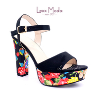 Beautiful latest colorful flower print girls high heel sandals shoes