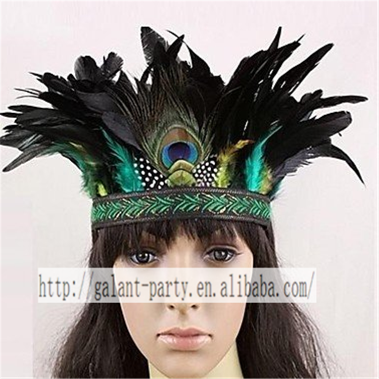 handmade indian style peacock feather headgear for halloween and carnival
