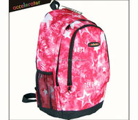"17"" red star design fashion school backpack manufacturer china school bag for girl"