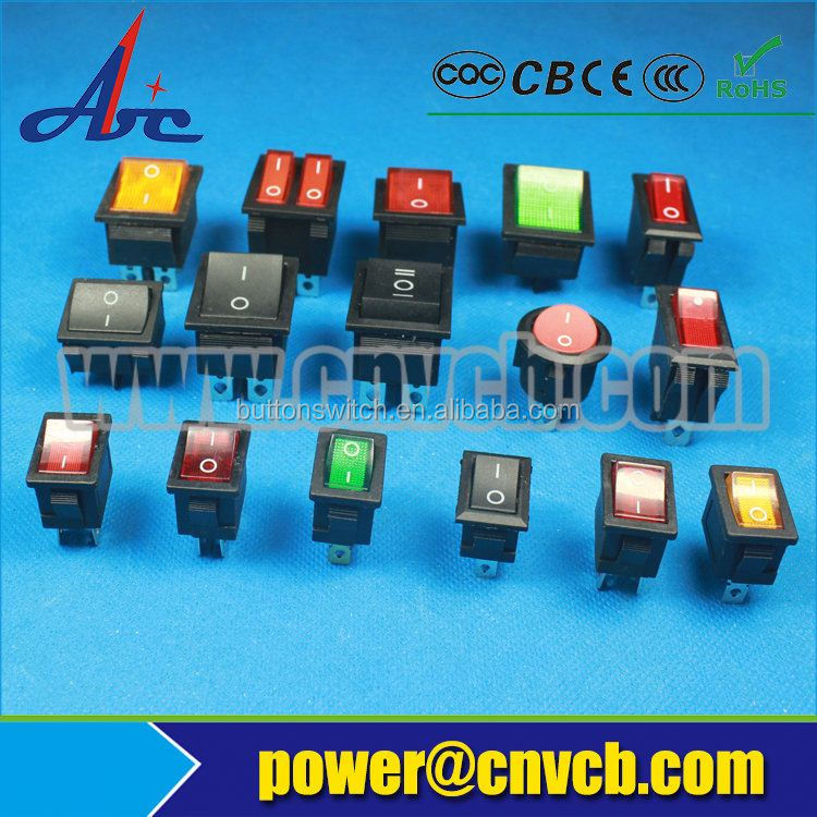 ON-OFF 6pin green neon bulb 15a 125vac rocker switch
