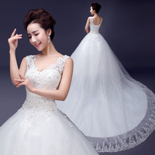 ZHF234 Sexy V neck Long Train Lace Crystal Puffy Bridal Ball Gown Wedding Dresses