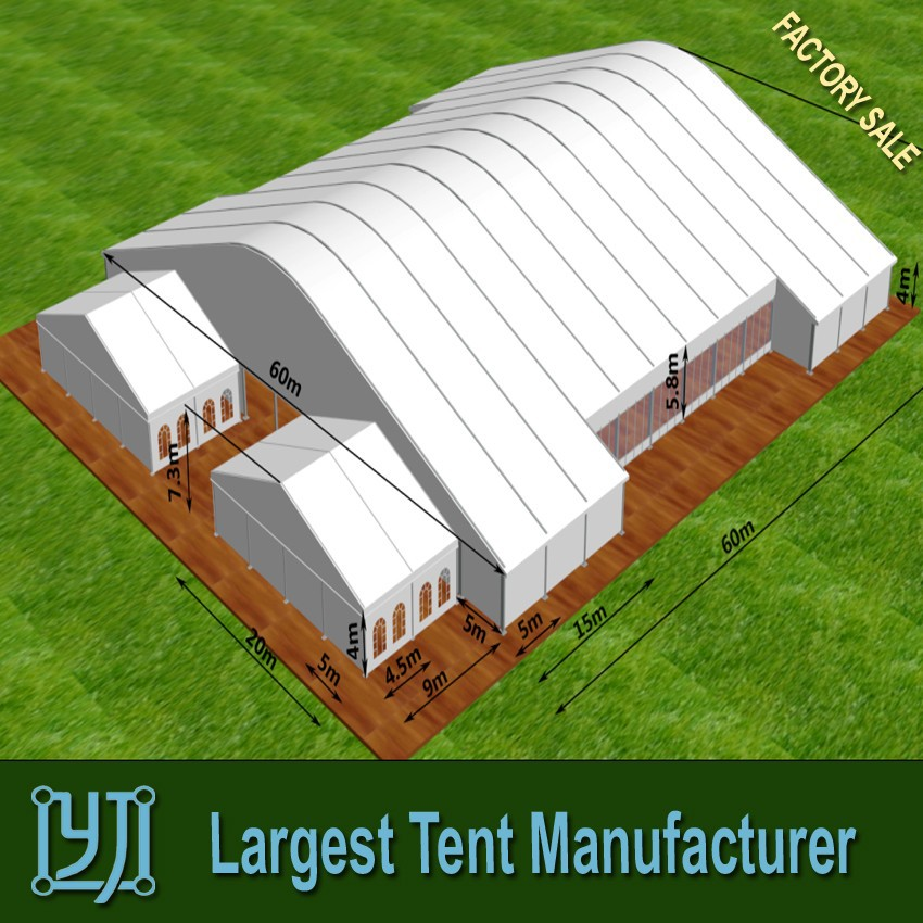 Large arc maruqee tent with glass wall for events