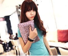 2014 New Fashion 4 Colors Sparkle Spangle clutch purse evening bags and clutches lady Handbag 7248