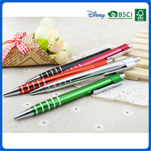 2016 oem advertising promotion matal ball pen with stripe