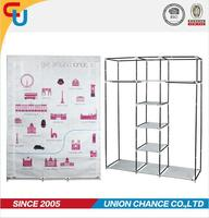 non woven with steel or iron wardrobe design for cloth wardrobe