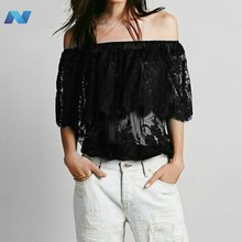 Women Fashion Sexy Strapless Off Shoulder Short Sleeve Sheer Lace Hollow Ruffle Solid Tops Blouse