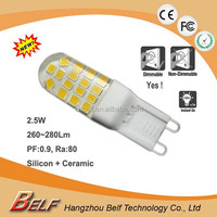 2015 New Products High PF, CRI>80 Dimmable 3W 350Lm G9 LED Lamps for replacing 40W halogen