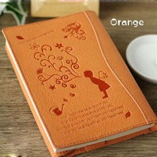2017 new fashion design Pu Leather portfolio note book with cute printing