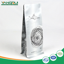 Laminated Material Custom Made Print Resealable Food Standard Packing Flat Bottom White Side Gusset Bag With Zipper